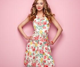Summer fashion floral dress Stock Photo 05