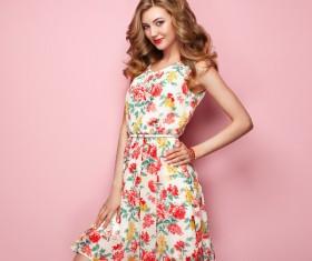 Summer fashion floral dress Stock Photo 06