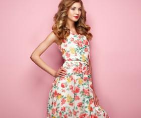 Summer fashion floral dress Stock Photo 08