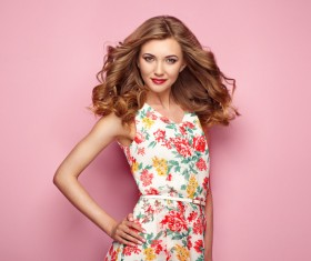 Summer fashion floral dress Stock Photo 09