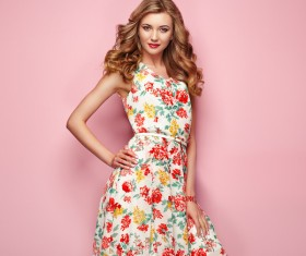 Summer fashion floral dress Stock Photo 12
