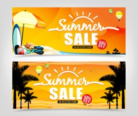 Summer sale banner template vectors 01