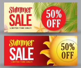 Summer sale banner template vectors 02