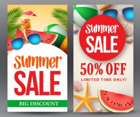Summer sale banner template vectors 03