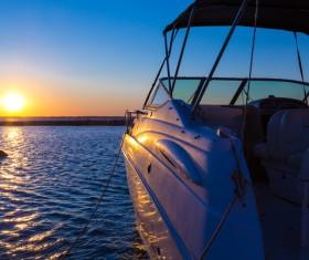 Sunset and docked yacht Stock Photo