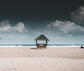 Sunshade cottage on the beach Stock Photo