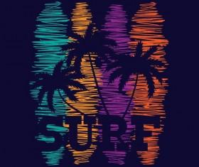 Surf background hand drawn vector