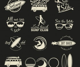 Surf logos black vector set