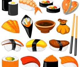 Sushi japanese cuisine illustration vector
