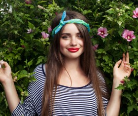 Teen girl and flowers Stock Photo
