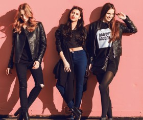 Three stylish girls Stock Photo