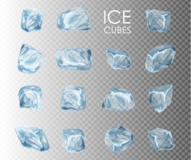 Transparent Ice cubes vector illustration 01