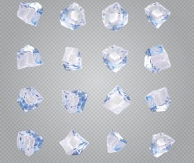 Transparent Ice cubes vector illustration 02