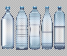 Transparent water bottles package vector 01