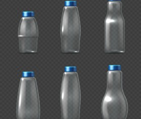 Transparent water bottles package vector 02