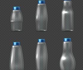 Transparent water bottles package vector 02