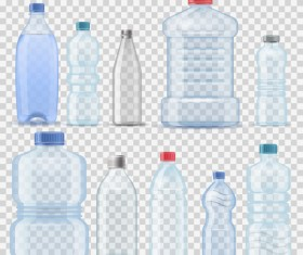 Transparent water bottles package vector 03