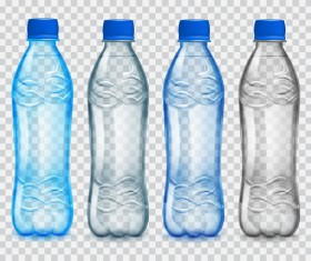 Transparent water bottles package vector 04