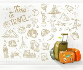 Travel elements hand drawn vector