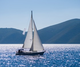Traveling on the sea Sailboat Stock Photo 02