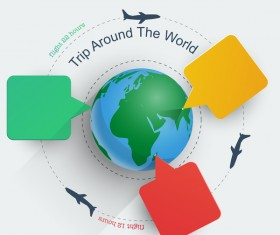 Trip around the world travel background vector