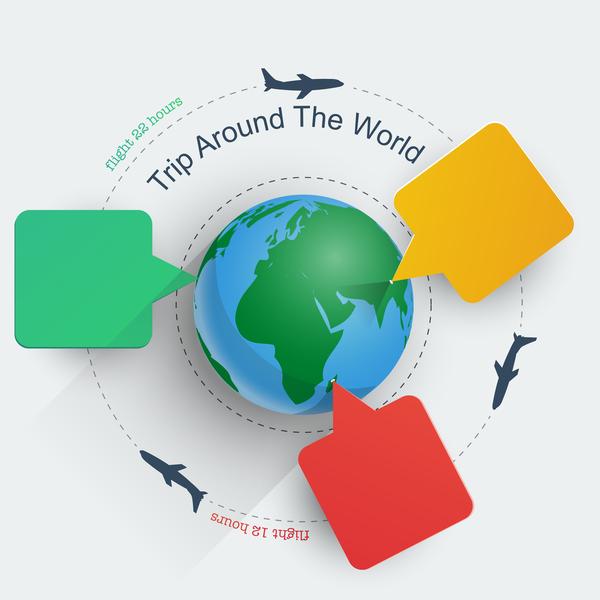Trip around the world travel background vector