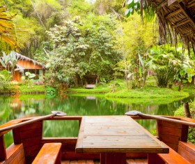 Tropical rainforest hut Stock Photo