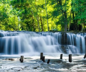 Tropical rainforest waterfall Stock Photo 02