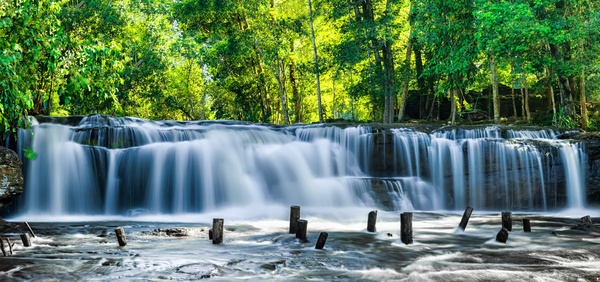 Tropical rainforest waterfall Stock Photo 02