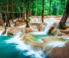 Tropical rainforest waterfall Stock Photo 04