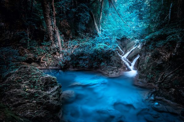 Tropical rainforest waterfall Stock Photo 05