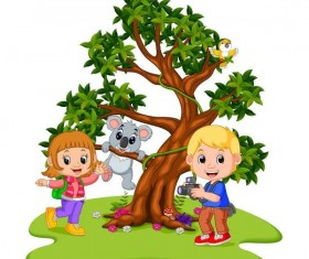 Two kids with koala cartoon vector