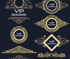 VIP labels with golden decor vector