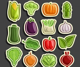 Vegetable sticker retor vector 02