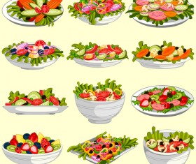 Vegetable with fruit salad vector