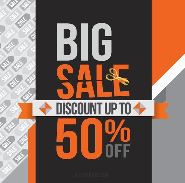 Vintage big sale discount background vector