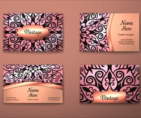 Vintage decor floral with business card vector 01