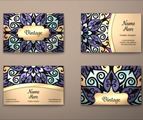 Vintage decor floral with business card vector 02