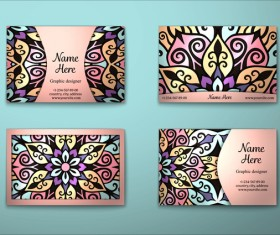 Vintage decor floral with business card vector 03