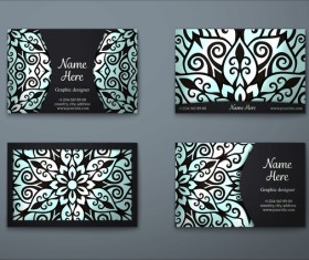 Vintage decor floral with business card vector 04