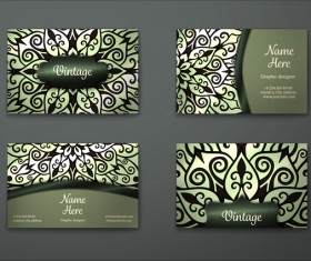 Vintage decor floral with business card vector 05