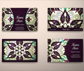 Vintage decor floral with business card vector 06