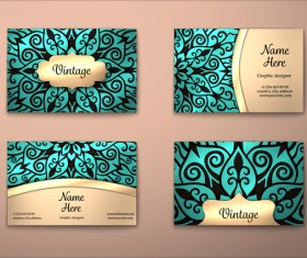 Vintage decor floral with business card vector 07