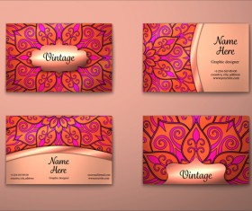 Vintage decor floral with business card vector 08