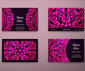 Vintage decor floral with business card vector 09