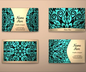 Vintage decor floral with business card vector 10