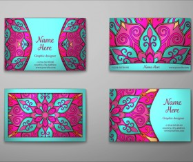 Vintage decor floral with business card vector 12