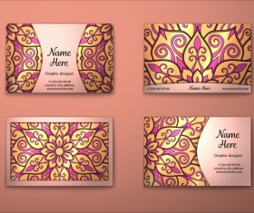 Vintage decor floral with business card vector 13