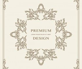 Vintage decor frame with beige background vector 06