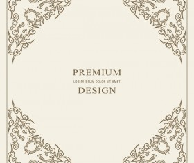 Vintage decor frame with beige background vector 11